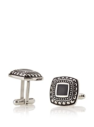 Link Up Patterned Black Square Cufflinks