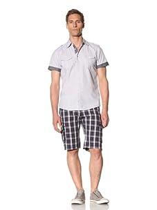 Fresh Men's Short Sleeve Button-Front Shirt (Blue)