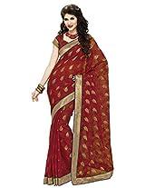 Aadarshini Women's Net Saree (110000000056, Red)