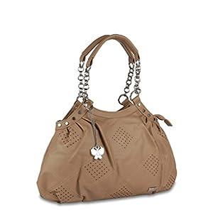 Butterflies Perforated Design Hand Bag (Beige)_BNS 0347