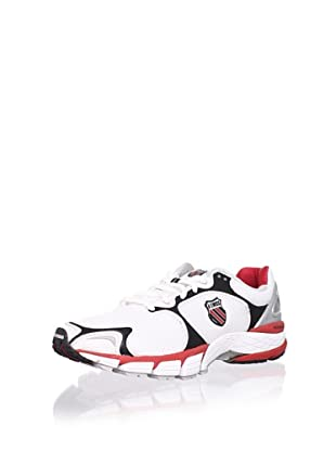 K-Swiss Men's California Running Shoe (White/Black/True Red/Silver)