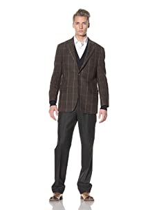 David Chu Men's Windowpane Sport Jacket (Brown)