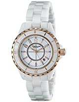 Stuhrling Original Women's 530.114EW3 Fusion Quartz Rose Gold White Ceramic Watch