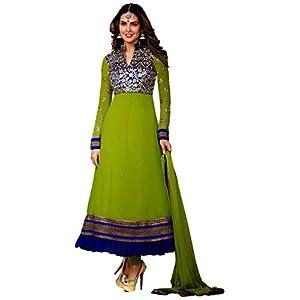Esha Gupta Lime Green & Blue Georgette Top With Santoon Bottom & Chiffon Dupatta Zari Embroidery Work Anarkali Salwar Suit
