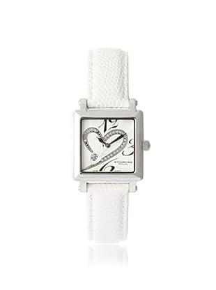 Stuhrling Original Women's 253.1115P2 Amour Aphrodite Courtly Diamond Swiss White Leather Strap Watch