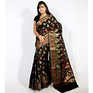 Mirraw.Com Faux Chanderi Benarasi Silk Work Saree