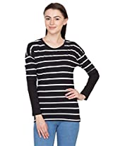 Hypernation Black and White Stripped T-Shirts for Women