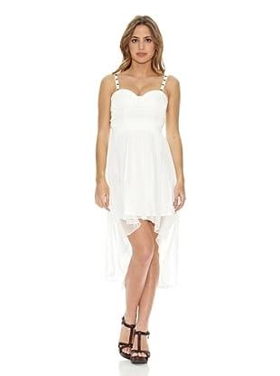 Rare London Vestido Studded Cup Dip Hem (Blanco)