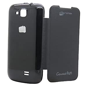 Snooky Black Flip Cover Case Back For Micromax Canvas Fun A63 Td8314