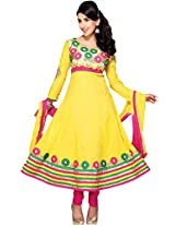 Suchi Fashion Heavy Embroidery Yellow and Pink Cotton Semi Stitched Anarkali Suit