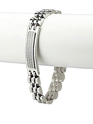 BlackJack Polished Stainless Steel Three Row CZ Link Bracelet