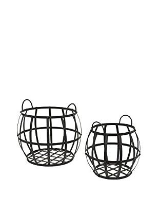 Three Hands Set of 2 Metal Round Baskets, Black