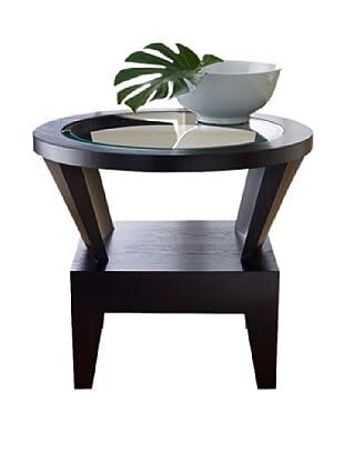 Abbyson Living Fairfax Round Glass End Table, Espresso