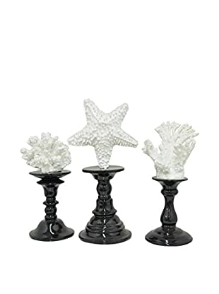 Three Hands Set of 3 White Decorative Coral Statues