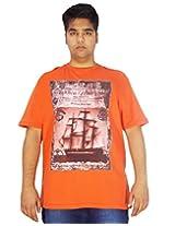 Xmex Trendy Round Neck Sinker Orange T-Shirt for Men