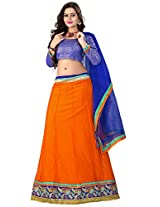 Jiya Presents Women's Multi Embroidered Stitched Lahenga With Unstitched Blouse Piece.(Orange)