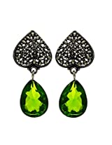 Silver Light Green crystal earring