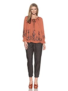 Alice Ritter Women's Long Sleeve Peasant Shirt with Cut-Out Embroidery (Rust)