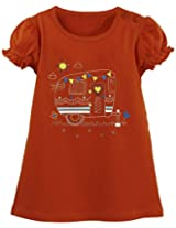 Oye Girls Round Neck Tee With Chest Print - Red Orange (2-3 Y)
