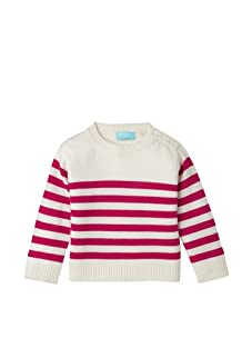 Bambeeno Girl's Striped Crewneck Sweater (Ivory/Raspberry)