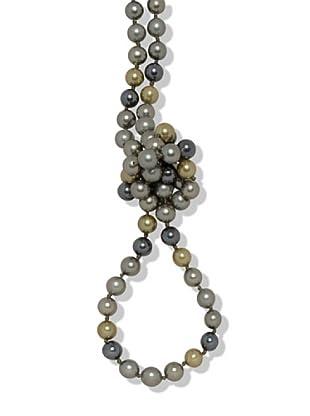 Perldor - 60401052 Collar de mujer Gris de ley con perla natural Gris/Marrón 90 cm
