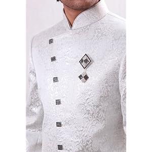 White Semi Sherwani