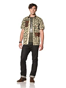 Under 2 Flags Men's Short Sleeve Military Shirt (Olive Camo)
