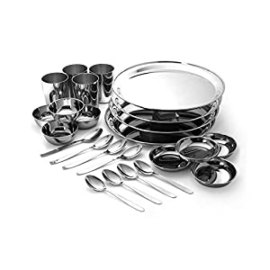 RBJ Stainless Steel Dinner Set lunch set of 24 Pcs Silver Touch Mirror Finish Heavy Gauge