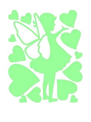 Ambiance Sticker Wandtattoo Little Fairy With Hearts Fluorescent