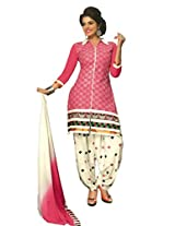 SGC Pink & White Cotton Embroidery unstitched churidar Patiyala (NKT-5104)