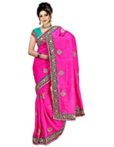 Chinco Bhagalpuri Embroidered Saree With Blouse Piece (1101-C_Pink)