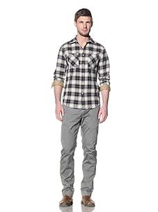 Just A Cheap Shirt Men's Tyler Checkered Button-Up Shirt (Cream/Charcoal)