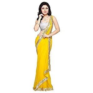 Gtexinc Yellow Border Work Faux Georgette Beautiful Fancy Saree