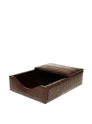 Trafalgar Crocodile-Embossed Desk Pad Set (Dark Brown)
