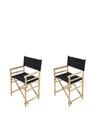 ZEW, Inc. Set of 2 Bamboo Director Chairs, Black