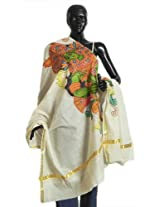 DollsofIndia Off-White Kasavu Chunni with Temple Mural Painting - Cotton - White