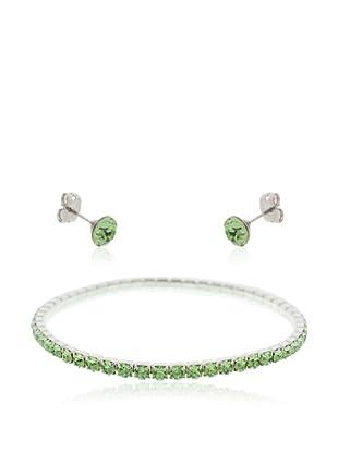 Diamond Style Juego brazalete y pendientes verdes