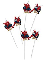Ultimate Spiderman Web Warriors-Medallion Flexi Drinking Straws , Kids Birthday Party Supplies , Theme Birthday Party , Drinking Straws (Pack of 6 straws)