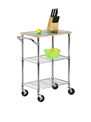 Honey-Can-Do Kitchen Cart with Wheels and Cutting Board