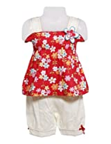 Sleeveless Frock with Bloomer - Beautiful Flowers Dresses with Legging / Pants