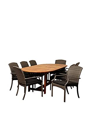Amazonia Harvard 9-Piece Eucalyptus Wicker Extendable Oval Dining Set with Cushions, Brown/Grey