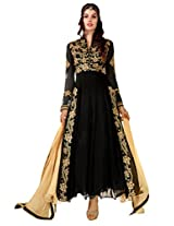 Inddus Women Black Coloured Ready To Stitched Dress Material