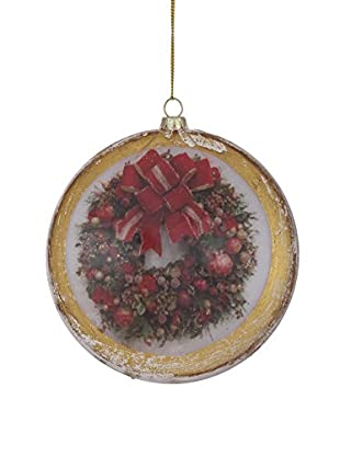 Winward Antique Wreath Disk Ornament, Red/Green