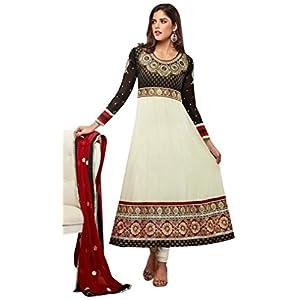 Designer White and Black colour Georgette Anarkali Suits