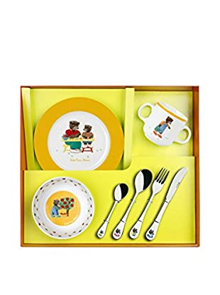 Guy DeGrenne 7-Piece Petit Ours Brun with Fruits & Vegetables Child's Set, White