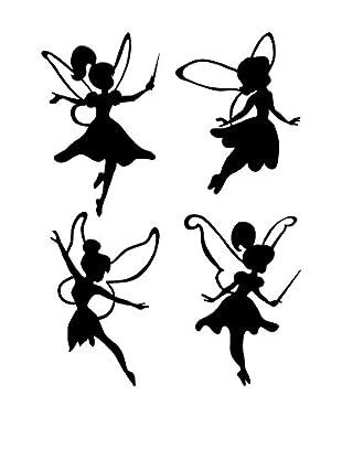 Ambiance Live Wandtattoo 4 tlg. Set Little fairies schwarz