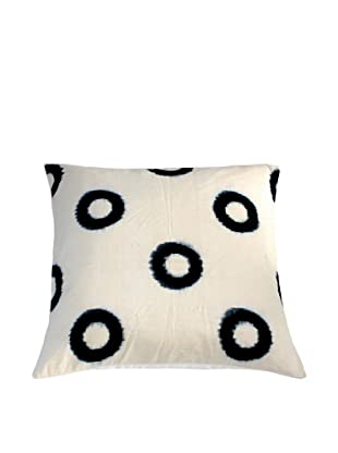 Filling Spaces Ikat Handloomed Pillow, Cream/Indigo