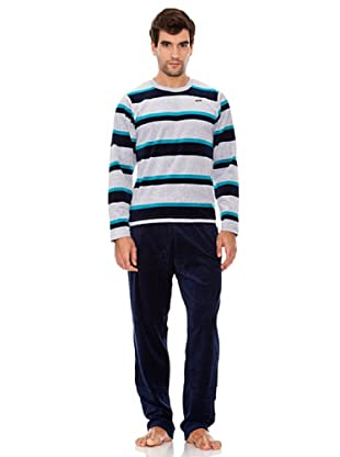 Abanderado Pijama Caballero Rayas Ultramar (Azul)