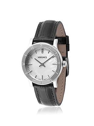 Versace Women's VQA010000 Acron Diamond & Black Leather Watch