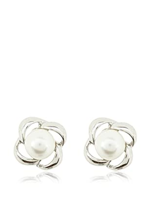 Vip de Luxe Pendientes Espiral Perla Blanca